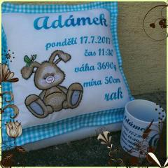 Embroidered pillow with funny bunny design