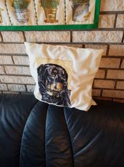Embroidered pillow with rottweiler free photo design