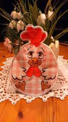 Embroidered potholder with little chicken applique free design