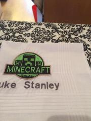 Embroidered towel with Minecraft heroes design