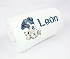Embroidered towel with cute  Chase dog design