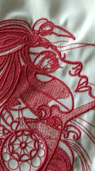 Fragment of spiritual girl embroidery design