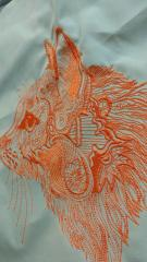 Orange lace cat embroidery design