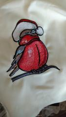 Winter bullfinch embroidery design