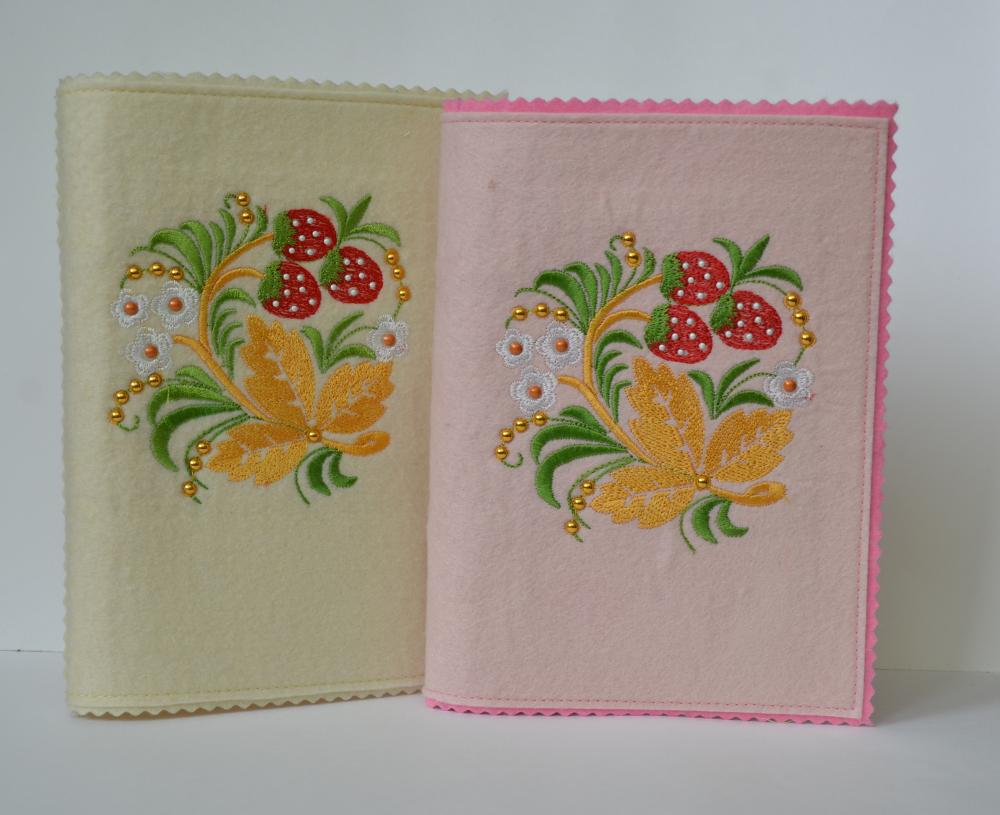 Strawberry and flowers embroidery design