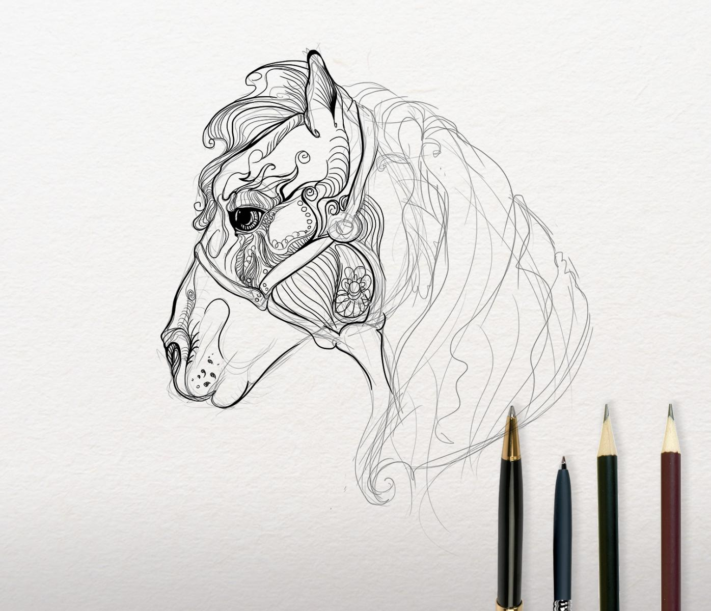 Mosaic horse embroidery sketch