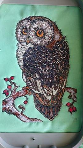 Showcase with fauna embroidery