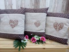 Embroidered cushion hear