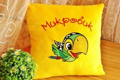Embroidered cushion with Colorful parrot design