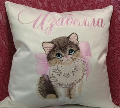 Embroidered cushion kitty with bow design
