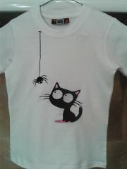 Embroidered t-shirt with spider and cat free design