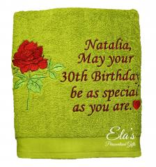 Embroidered towel with red rose design