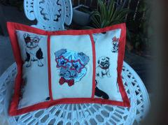 Embroidered pillow with dog in star glasses design