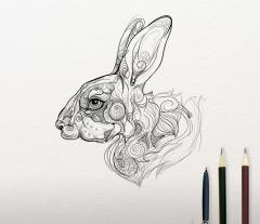 Mosaic rabbit embroidery sketch