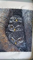 Owls in nest free embroidery design