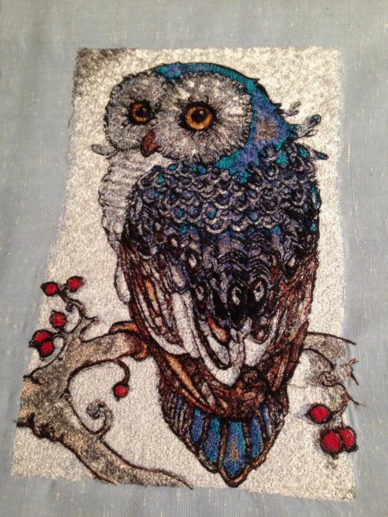 Owl in autumn free embroidery design