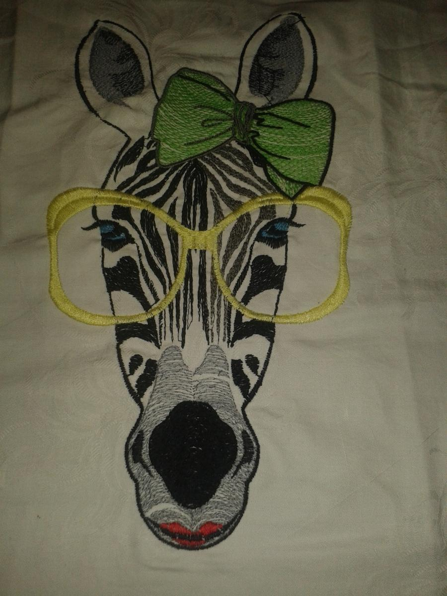 Zebra in big glasses embroidery design