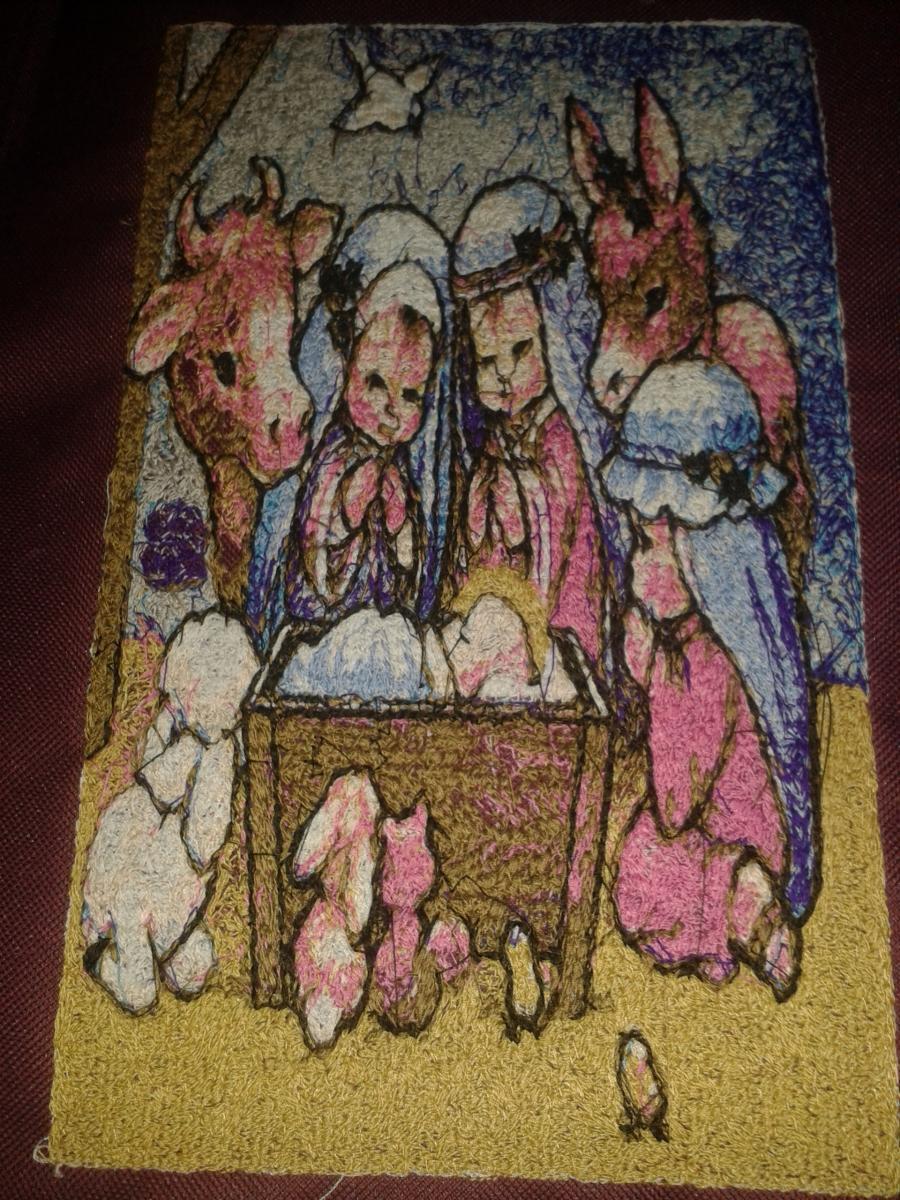 Bible scene embroidery design