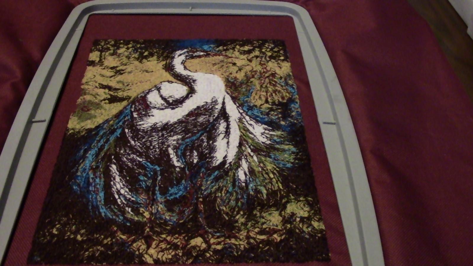 White stork embroidery design