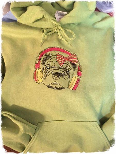 Embroidered hoodie with dog in headphones design