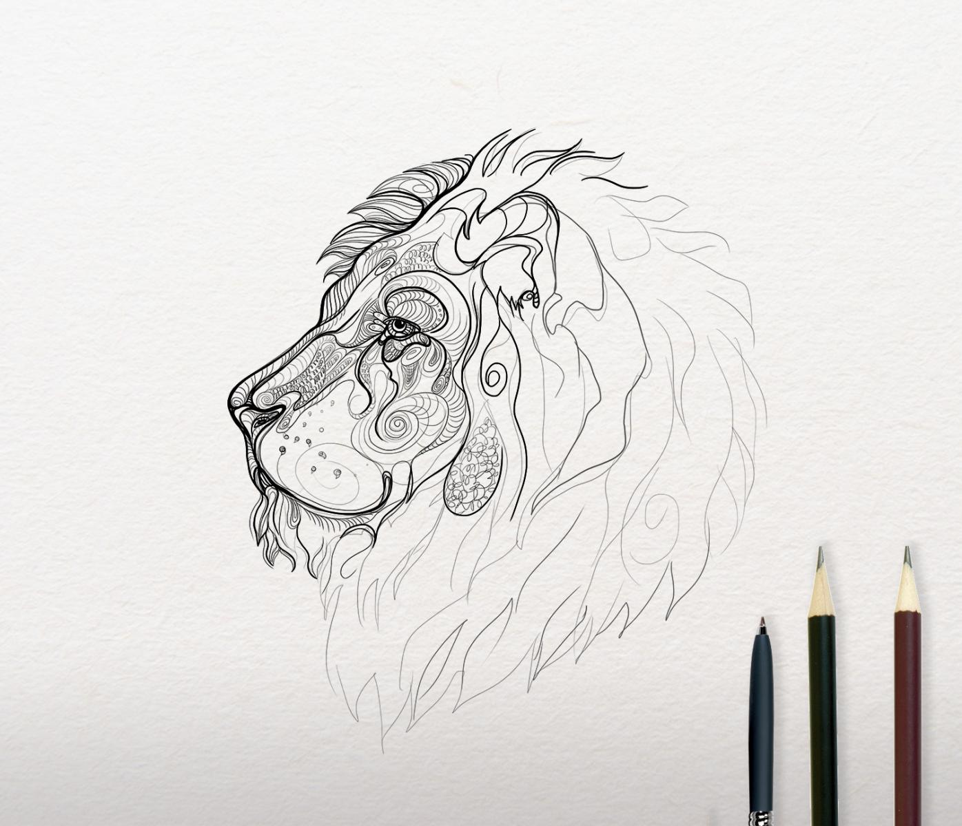 Lion sketch embroidery design