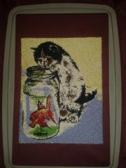 Cat fisherman embroidery design