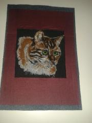 Portrait of red cat embroidery design