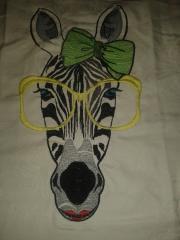 Zebra in big glasses embroidery design