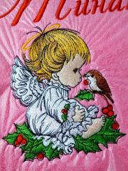 Close up Christmas angel embroidery design