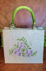 Embroidered bag with blue flowers design