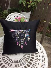 Embroidered cushion wint Indian dreamcatcher design