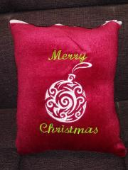 Embroidered cushion with Christmas ball free design