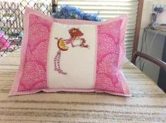Embroidered cushion with Girl and squirrel design