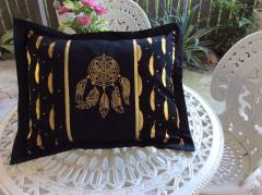 Embroidered cushion with Golden dreamcatcher design