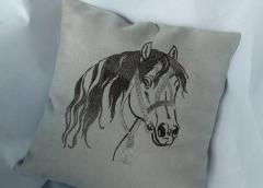 Embroidered cushion with Head of horse design