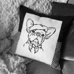 Embroidered cushion with stylish bulldog free design