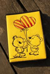 Embroidered document cover with bears with balloons design