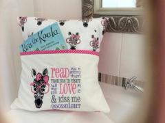 Embroidered pillow with zebra in pink glasses free design