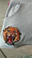 Embroidered shorts wild cheetah macro design