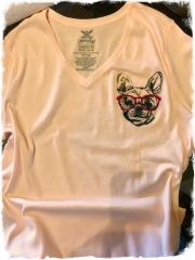 Embroidered t-shirt with Dog in glasses design