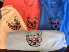 Embroidered t-shirts with dog in glasses design