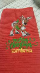Embroidered towel with Christmas deer design