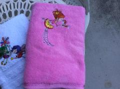 Embroidered towel with Little girl and squirrel design