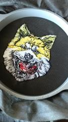 Japanese akita embroidery design on the hoop