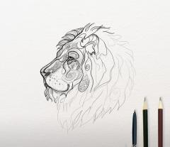 Lion sketch embroidery design