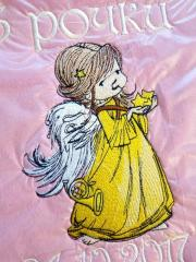 Little angel embroidery design close up
