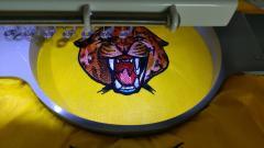 Wild cheetah embroidery design in progress