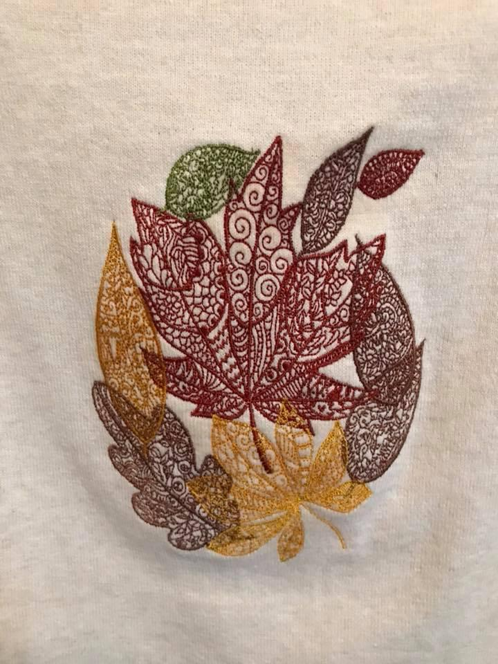 Colored autumn leaves embroidery design