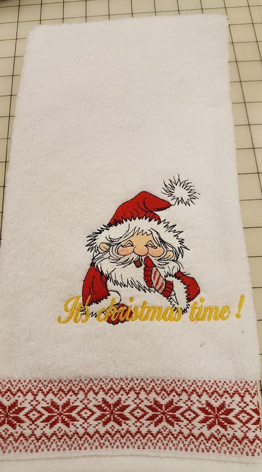 Embroidered towel Christmas time