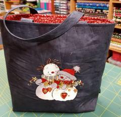 Embroidered bag with Two snowmen design